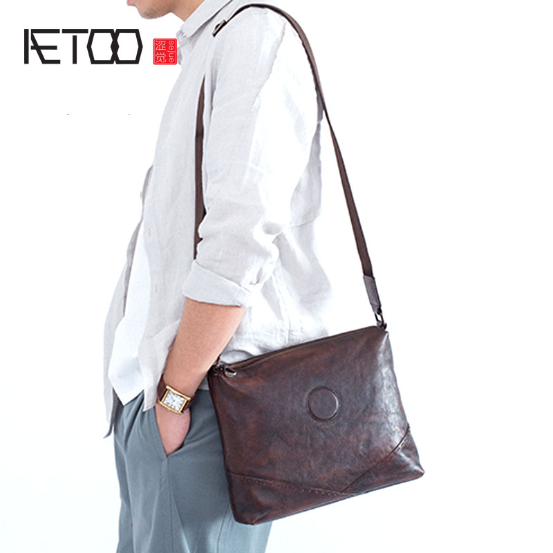 AETOO Shoulder bag men's leather retro hand-grown scorpion the first layer of leather large capacity casual multi-function men's qiaobao 2018 new korean version of the first layer of women s leather packet messenger bag female shoulder diagonal cross bag