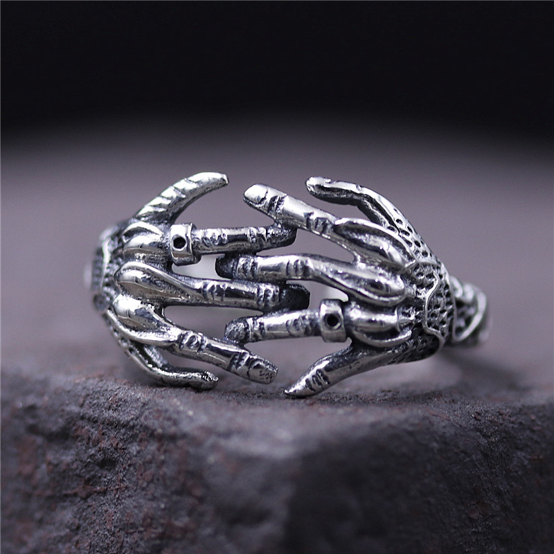 C&R Pure 925 Sterling Silver Rings for men hip-hop punk rock creative finger ring Fine Jewelry size 8-11 Adjustable