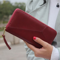 2017 New Geometric Zipper Wallet Women High Quality PU Leather Fashion Design Long Wallet Phone Money