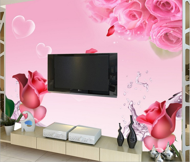 can customized Chinese style Abstract rose flower large 3d mural wallpaper wall stickers waterproof TV wall dinning room bedroom book knowledge power channel creative 3d large mural wallpaper 3d bedroom living room tv backdrop painting wallpaper
