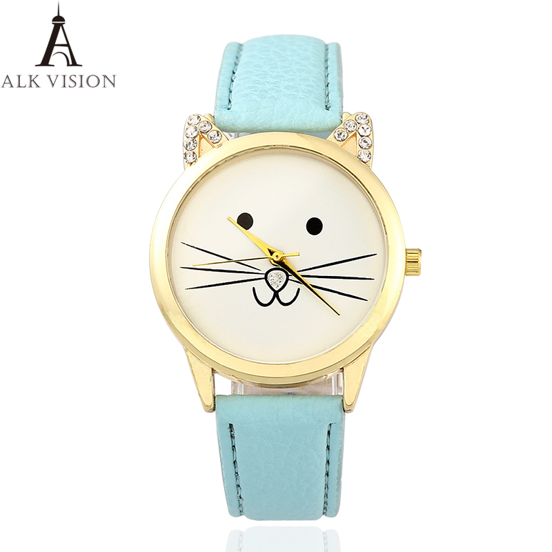 Women Watches Girl Quartz Watches Cute Cat Face Lovely Wristwatch Female Fashion Casual Student Cartoon Cat Ears Leather Relogio in Women 39 s Watches from Watches