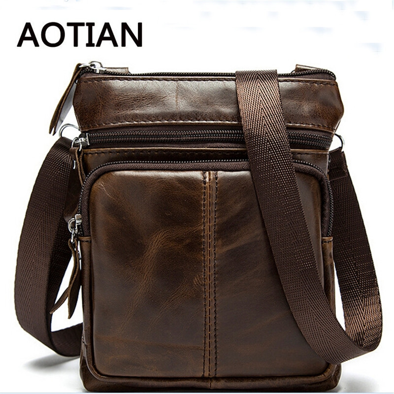 2017 HOT Men Bag Genuine Leather Man New Crossbody Shoulder Bag Men Small Business Bags Small Messenger Leather Bags