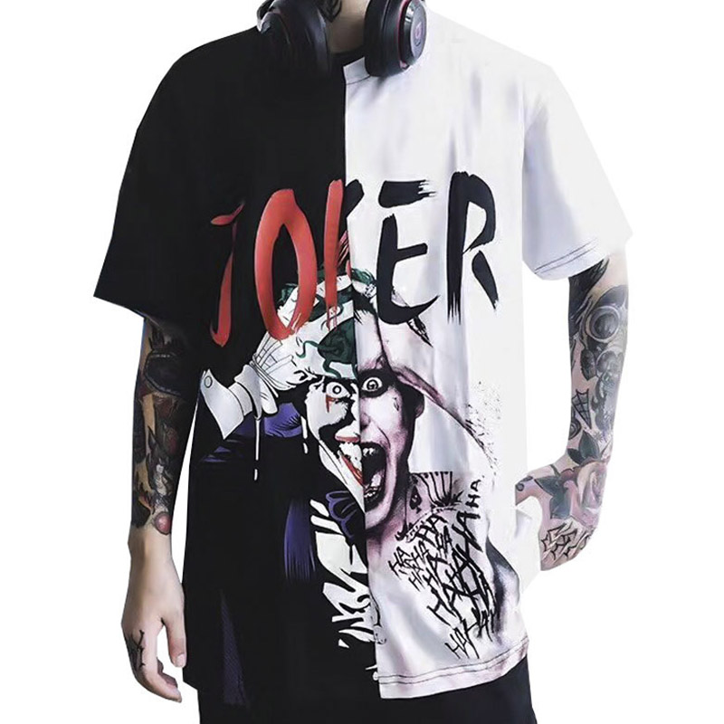Men Hip hop Joker T shirt Unisex Casual Funny Character High Street Patchwork Short sleeves Graffiti 100% cotton T-shirt