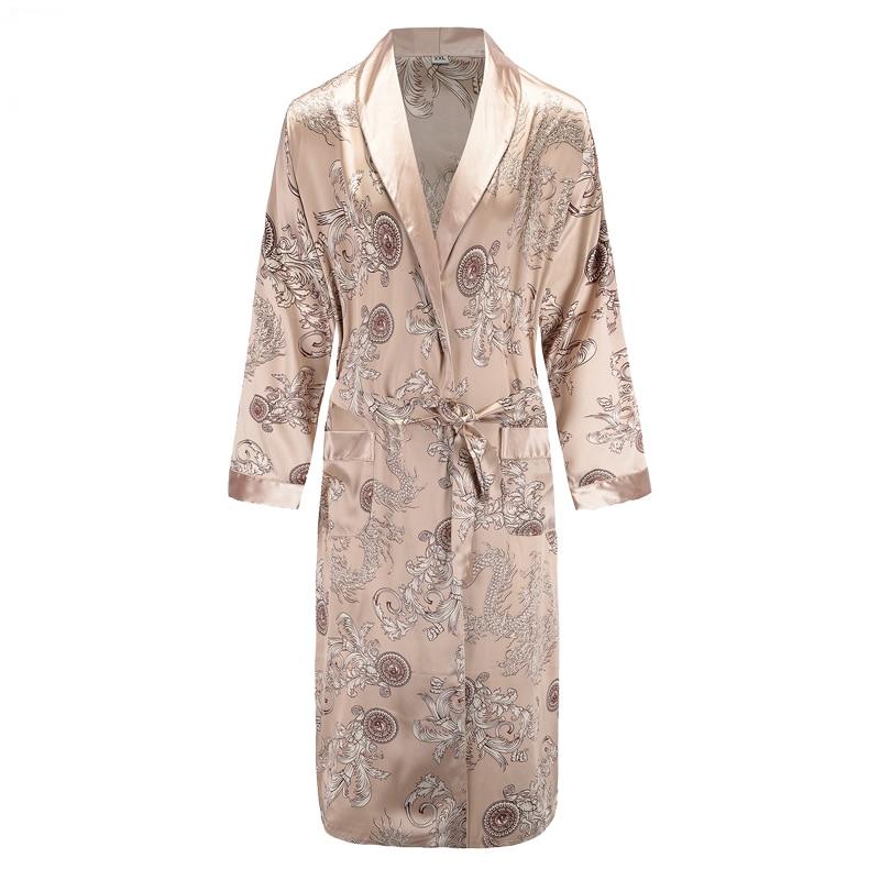 New Long Sleeve Robe Satin Sleepwear Print Dragon Phoenix Kimono Bathrobe Gown Mens Casual Home Clothes Loose Pajamas L-XXL