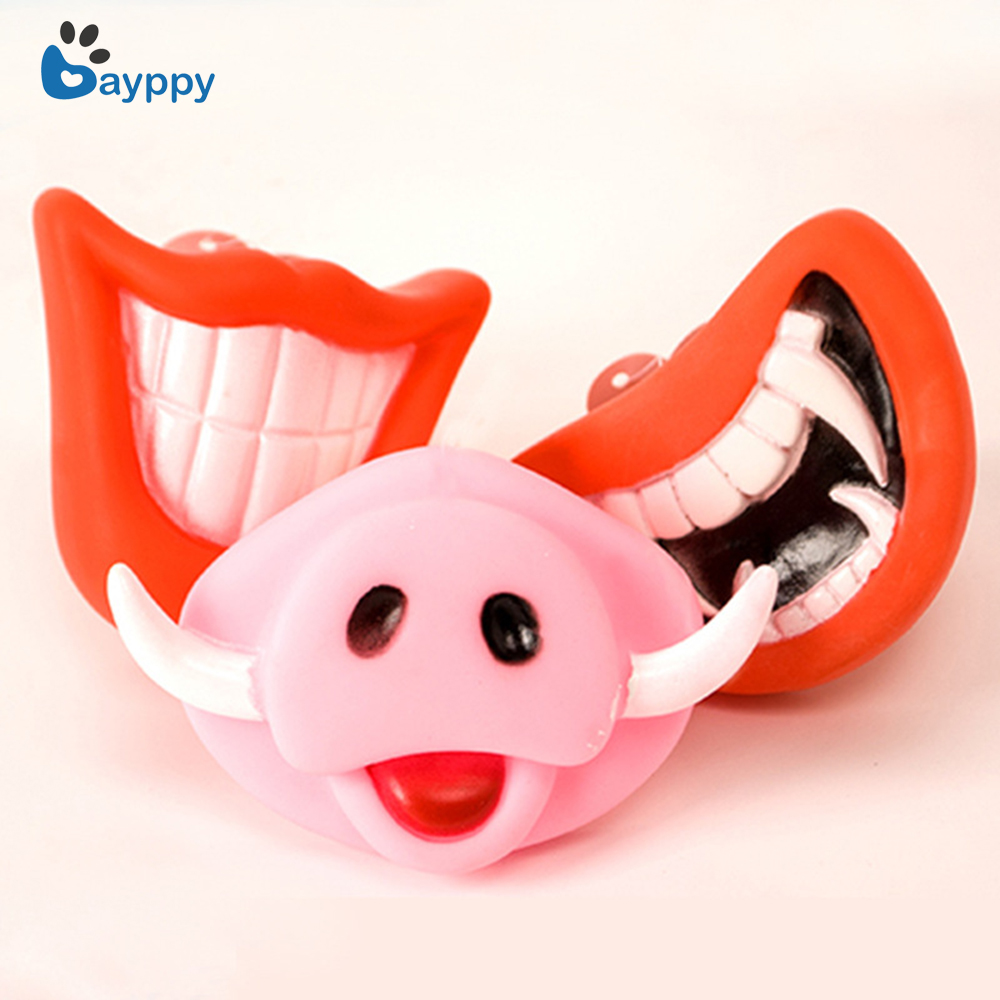 US new Pet Dog Cat Haoolween Chew Toy Red Teeth Pink Pig Nose Squeaky Sound Toys