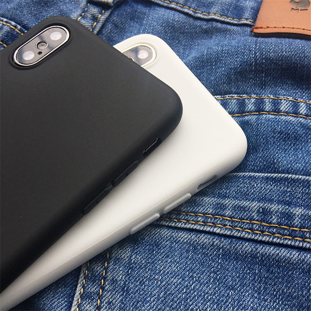 White Black Matte Coque For iPhone 12 11 Pro Xs Max XR X 5 5S SE 2020 6 6S 7 8 Plus TPU Back Cover For iPhone 7 Plus Phone Case 2