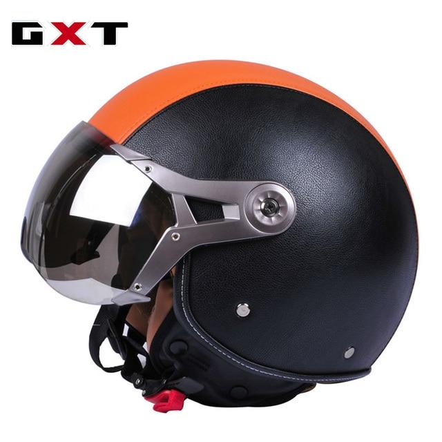 BRAND GXT PU Leather Men's women's Capacete Motorcycle RETRO Helmet Vintage Casco Motorbike Riding Half Helmets