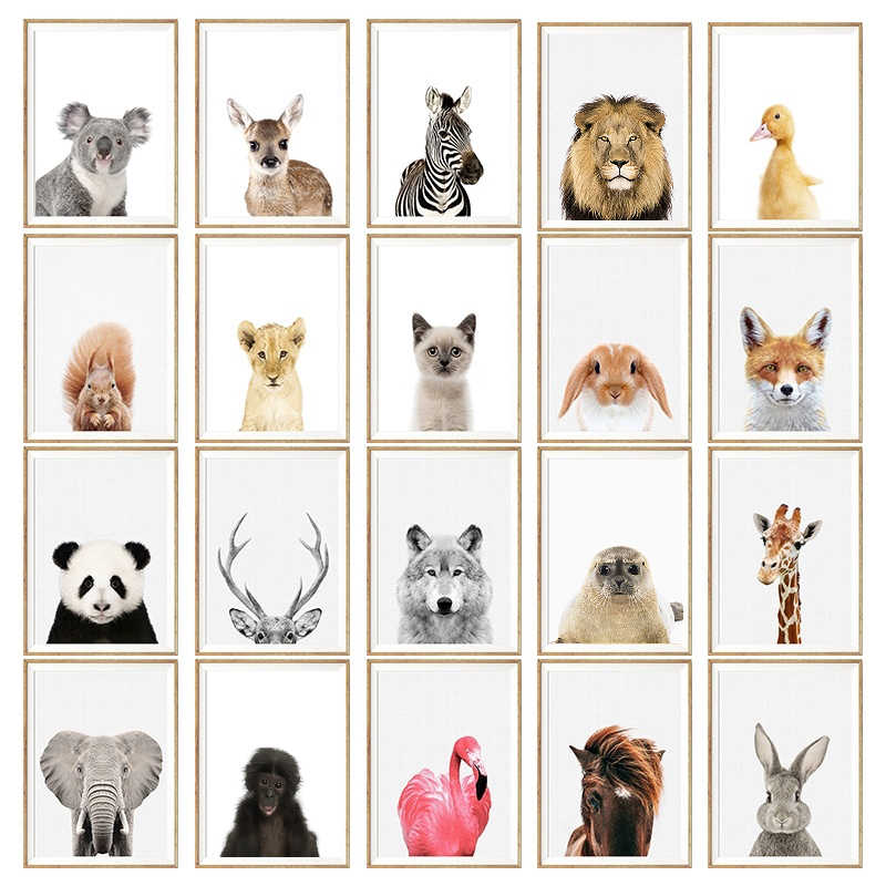 NUOMEGE Baby Animal Poster Panda Giraffe Elephant Canvas Painting Nursery Wall Art Nordic Picture Kids Room Decoration