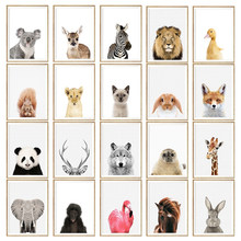 NUOMEGE Baby Animal Poster Panda Giraffe Elephant Canvas Painting Nursery Wall Art Nordic Picture Kids Room Decoration(China)