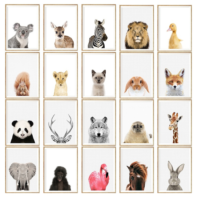 NUOMEGE постер с животными для малышей панда Жираф картина слона на холсте настенная живопись садик скандинавские картины украшения детской комнаты