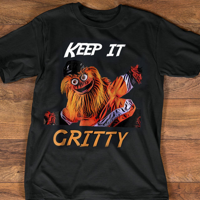 Keep It Gritty Philly Flyers Hockey Mascot Shirt Black Cotton Men T-Shirt  Cartoon t shirt men Unisex New Fashion tshirt free 44dfdc12d