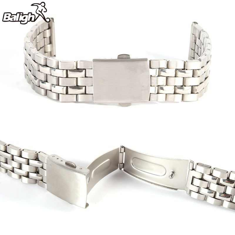 Stainless Steel Tali Logam Silver Jam Tangan Unisex Gelang 18 20 22 Mm Watch Band Double Fold Penyebaran Gesper Watch gesper