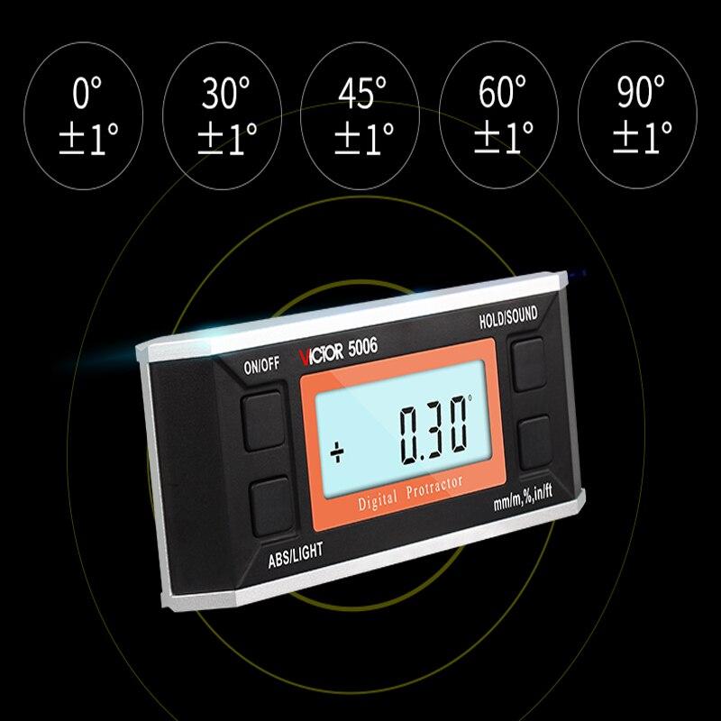 Numérique inclinomètre haute précision électronique règle d'angle avec niveau magnétique mètre VC5005/VC5006