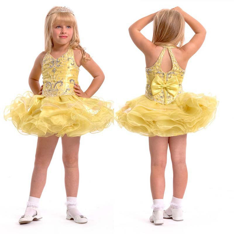 Online Shop Halter Short Organza Yellow girls short pageant ...