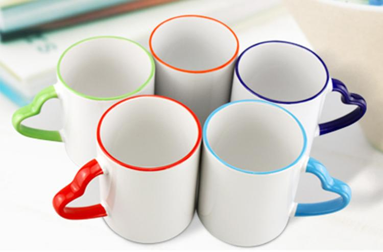 US $1 34 16% OFF|Wtsfwf Cheap High Quality DIY Customized Color Edge Heart  Shape Handle Mugs 11OZ Sublimation Mugs-in Printer Parts from Computer &