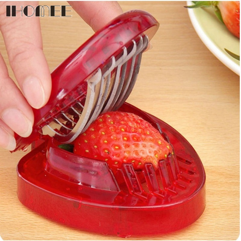 Strawberry Slicer Home Kitchen Tools Red Plastic Fruit Carving Tools Salad Cutter Berry Strawberry Cake Decoration Cutter F23D15