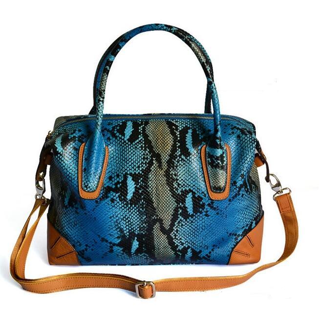 ФОТО Colorful Women Shoulder Bags Luxury Designer Handbags Serpentine Female Genuine Leather Bags Ladies Python Skin Style Handbag