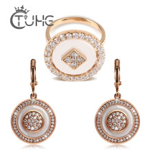 Big Oversize Round Rings Earrings Jewelry Sets For Female 585 Rose Gold Black White Ceramic Rings Earrings Jewelry Wedding Gift(China)