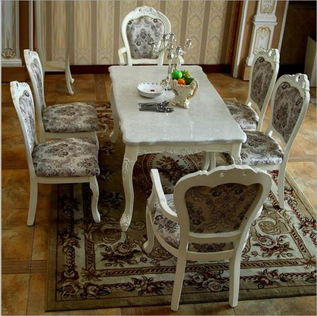 Modern Style Italian Dining Table 100 Solid Wood Italy Natural Marble Luxury Set 6 Chairs O1108