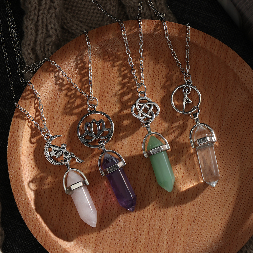 Chakra Crystal Pendant Silver Necklace with Charms Hexagon Column Point Reiki UK