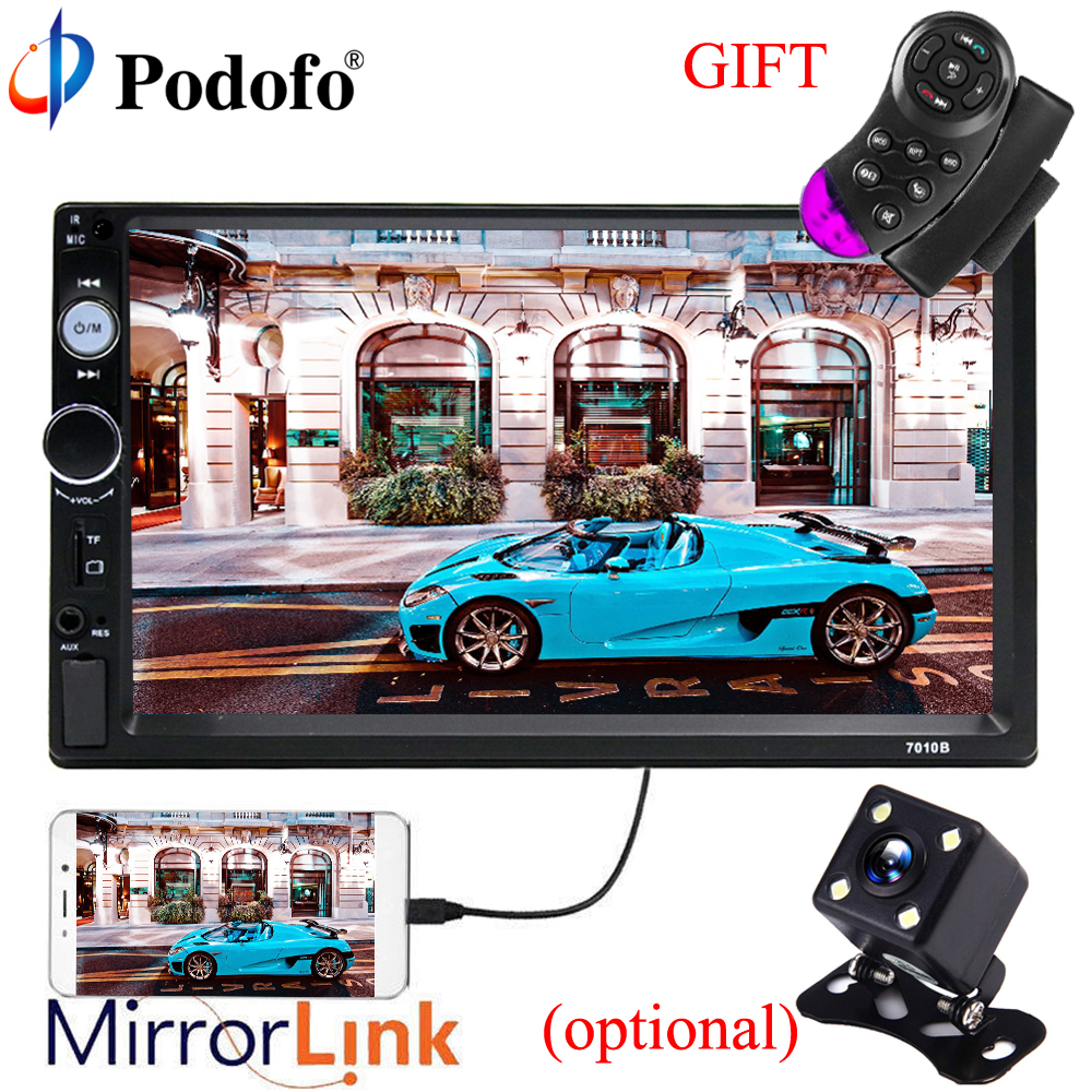 Podofo Autoradio Mirror Link 2 Din 7HD Bluetooth Car Radio Player Touch Screen Car Audio AUX IN USB MP5 with Rear View Camera podofo 7 inch touch screen 2 din car radio 2din in dash auto audio player stereo bluetooth usb sd mp5 rear view camera autoradio