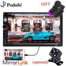 Podofo Авторадио Зеркало Ссылка 2 Din 7 «HD Bluetooth автомобиля радио Сенсорный экран автомобиля аудио AUX IN USB MP5 с заднего вида Камера