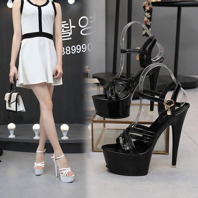 15cm High-Heels Waterproof Thick Bottom Sequins Thin Heels Model Car Show Nightclub Sandal 5