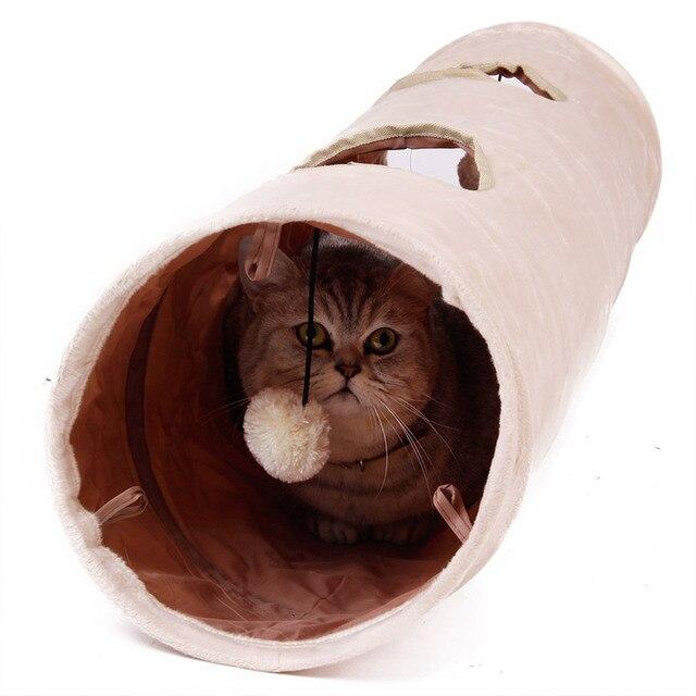 높은 품질 애완 동물 터널 긴 120 cm 2 구멍 고양이 강아지 토끼 티저 재미 있은 숨기기 터널 장난감 공 collapsible 고양이 터널