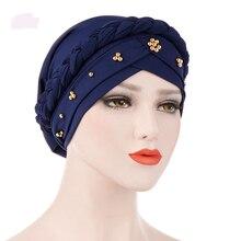 Novas Mulheres Camisa Lenço de Cabeça Islâmico Do Cuidado de Cabelo Leite  Contas Braid Envoltório Do 533c30b713a