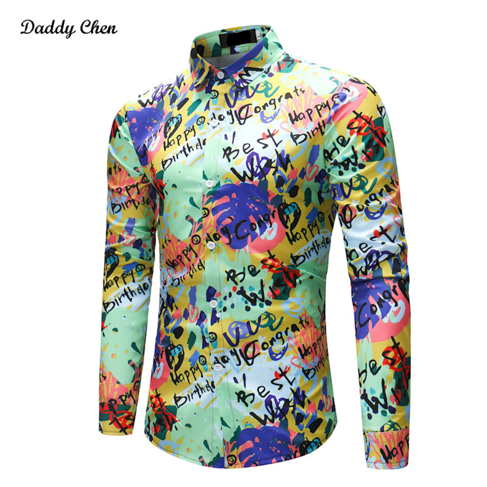 2018 New Fashion English graffiti Mens Shirts Spring Casual multi color Men Dress Shirt  ...