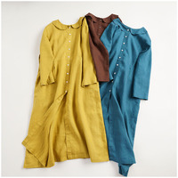 Spring Autumn Women Loose Plus Size Japanese Style Peter Pan Collar 14*14 Water Washed Linen Dresses