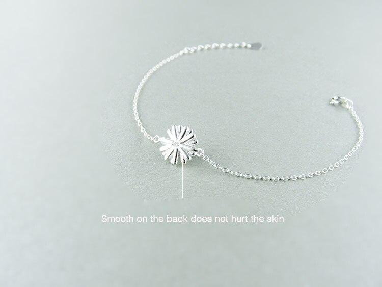 AKOLION Silver Cherry Blossoms Bracelets Charm Flower Bracelets 925 Sterling Jewelry For Girl Women 15