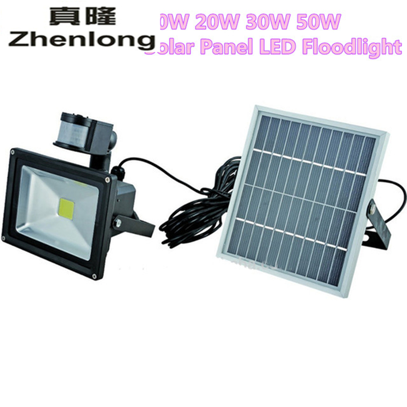 Zhenlong 10W <font><b>20W</b></font> 30W 50W Solar Panel <font><b>LED</b></font> Flood Security Solar Garden Light PIR Motion Sensor Path Outdoor Infrared <font><b>Floodlight</b></font> image