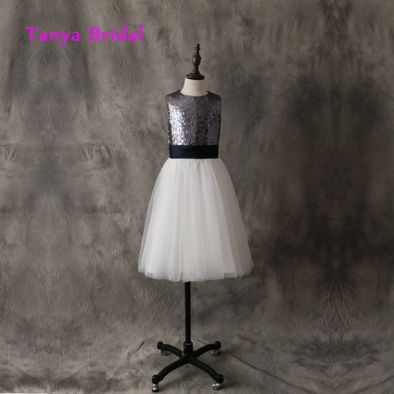 d434a54adbf Scoop Ivory Tulle Flower Girl Dress A Line Charcoal Grey Sequin Floor  Length Open Back with Bow Sash