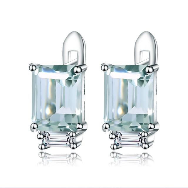 Gem's Ballet 3.11Ct  Natural Green Amethyst Stud Earrings 925 Sterling Silver Gemstones Earrings For Women Wedding Fine Jewelry