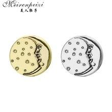 Meirenpeizi Vintage Men Women Sun Moon Brooch Pins Suit Boutonniere Collar Lapel Enamel Pin Leaf Brooches Accessories