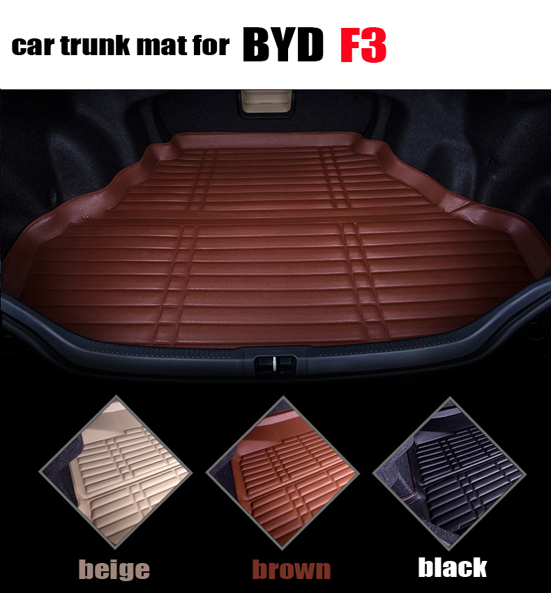 car trunk liner for BYD F3 waterproof cargo liner leather trunk pad  all weather car mats cargo mats auto accessories car rear trunk security shield cargo cover for volkswagen vw tiguan 2016 2017 2018 high qualit black beige auto accessories