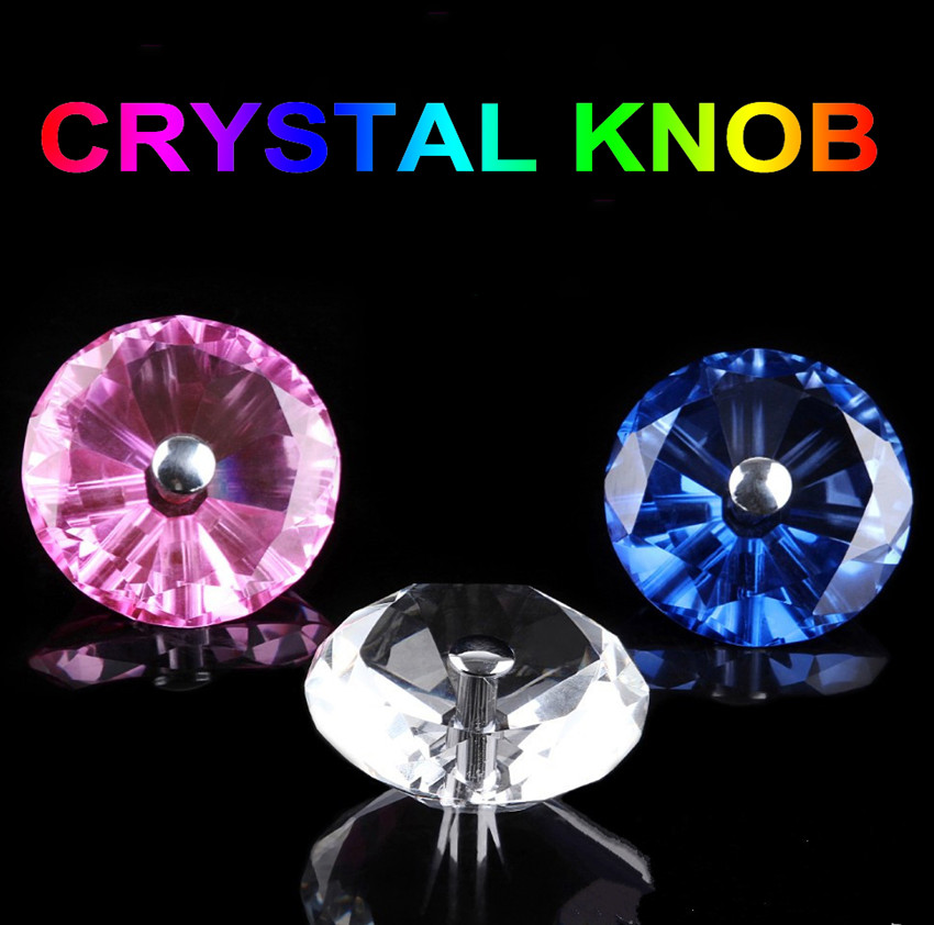 60mm 80mm 100mm modern fashion clear blue pink crystal bathroom office wooden door glass door single hole diamond handle knob