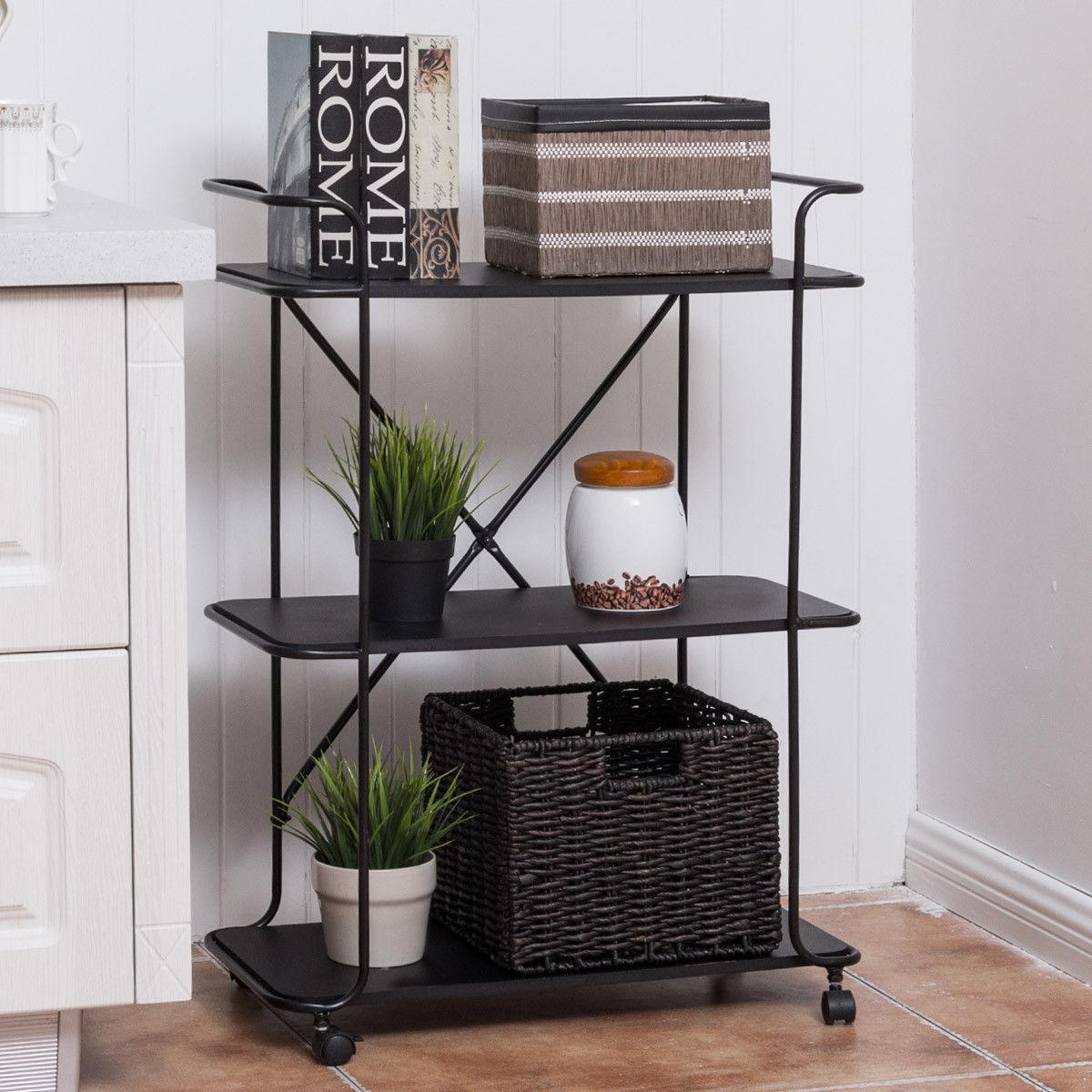 Giantex 3 Tier Metal Portable Rolling Cart Storage Rack Living Room Bookshelf Display Utility