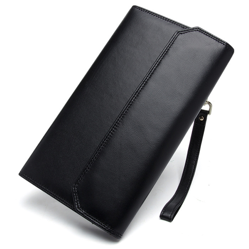 Men Wallet Male Cowhide Genuine Leather Purse Money Clutch Card Holder Wallets Handy Wristlet Fashion Long Money Bag Coin Purses
