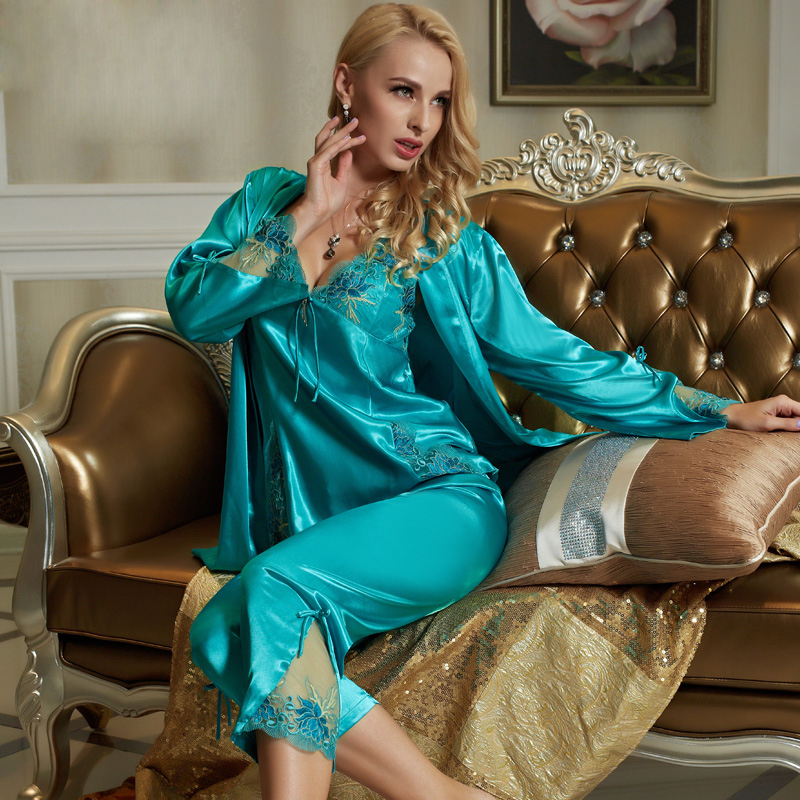 Xifenni Pajama Sets Female Faux Silk Sleepwear Women Sexy Satin SILK Pyjamas Long-Sleeve Sexy Lace Home Clothing 1533