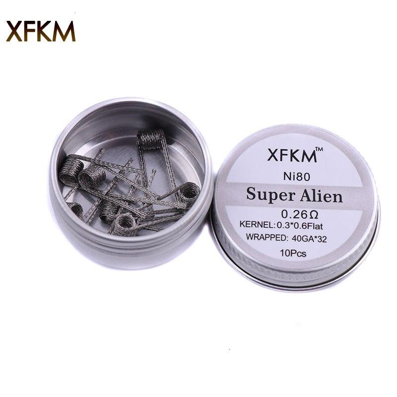 10pcs NEW XFKM NI80 Nichrome Super Alien Prebuilt Coils Premade Coil For Electronic Cigarette RDA RTA RBA Atomizer Heating Wire