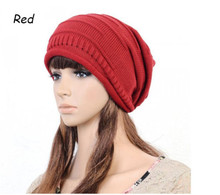 unisex Retro Loose Baggy hat Winter Beanie Knit Skull Hat slouchy wrinkle Ski Cap