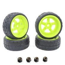 4 unids caucho rc 1/10 neumáticos y llantas aro 26mm con espuma para en el coche de camino hsp hpi reemplazo partes