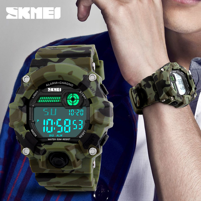 SKMEI 1197 Men Sport Digital Watch Outdoor Militray Army Watches Water Resistant Alarm Clock Chronograph Wristwatches