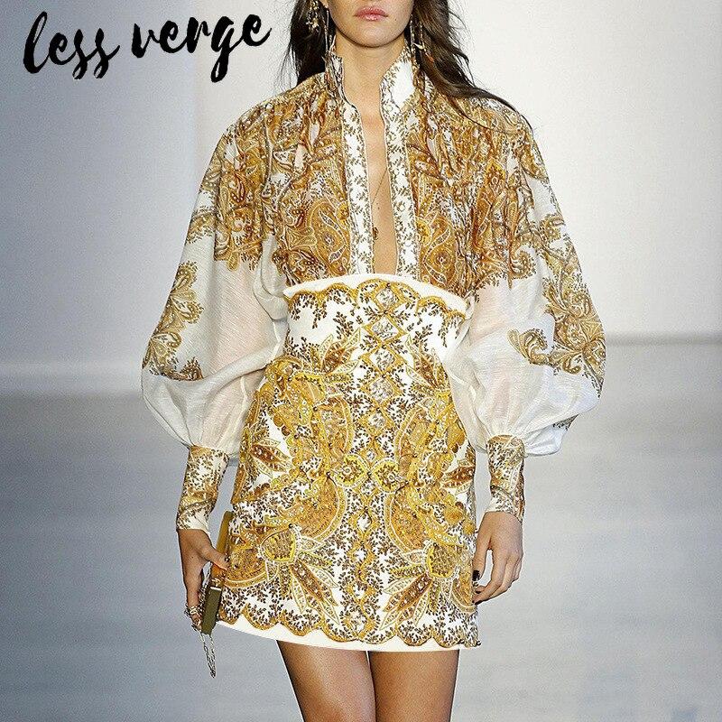 Lessverge causal Do Vintage duas peças set mulheres roupas de manga Longa top blusa de verão cintura Alta boho bodycon conjunto saia conjuntos