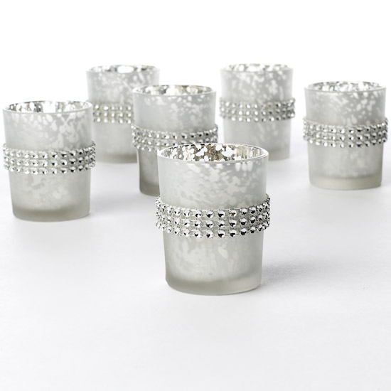 Mercury Wedding Frosted Votive holder with Silver belt decor USD58
