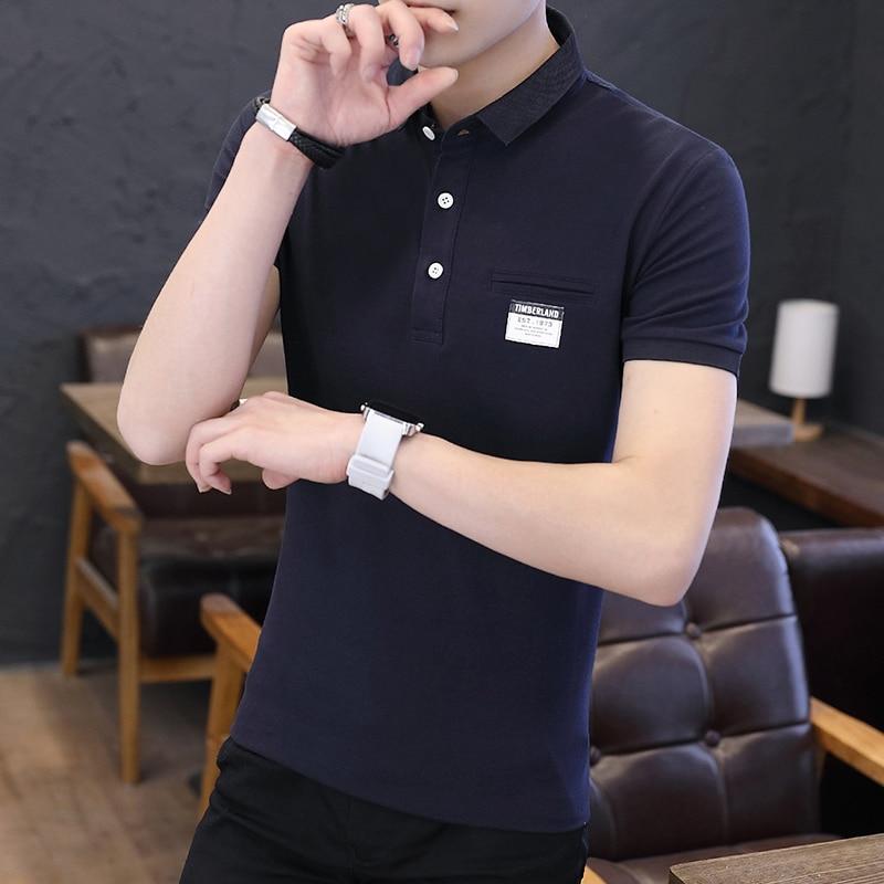 Mens Polo Shirt Summer Style Men Business Casual Solid Color Short Sleeve Polo Shirt Slim Cotton Polo Shirt Men Fake Pocket 16