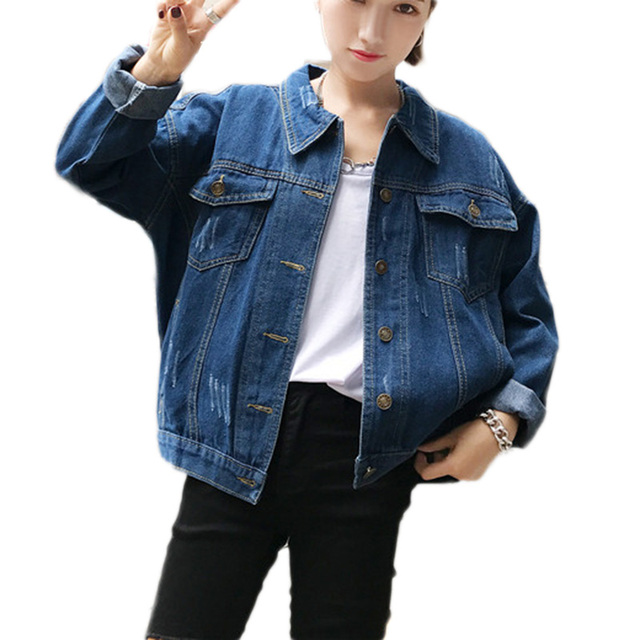 New Autumn Vintage Women Casual dark blue Denim Jackets Vintage ...