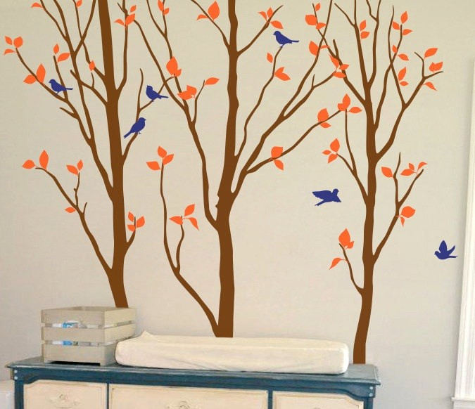 Kids Birch Tree Wall Decals Large Tree With Birds Special Creative Wall Sticker For Baby Kids Playroom Cute Decor Mural W-849